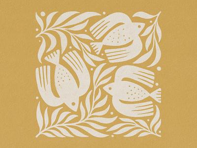 Birds and Plants print texture handmade illustration design plants plant bird