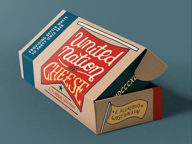 Cheese Box Concept logo. script lettering banner flag box cheese packaging
