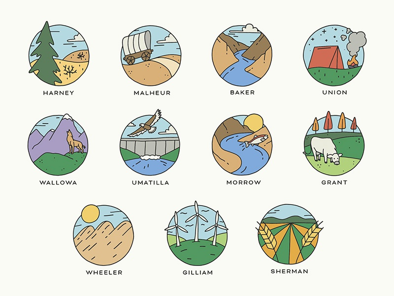 Eastern Oregon Icons illustration river nature counties oregon icons