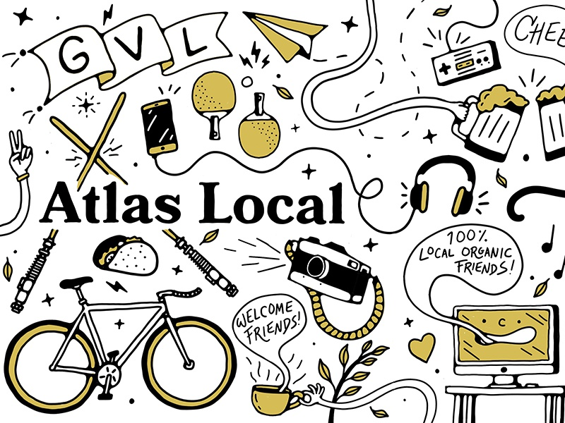 Atlas Local Mural music skateboard plant computer pizza beer fun lettering color icon illustration mural