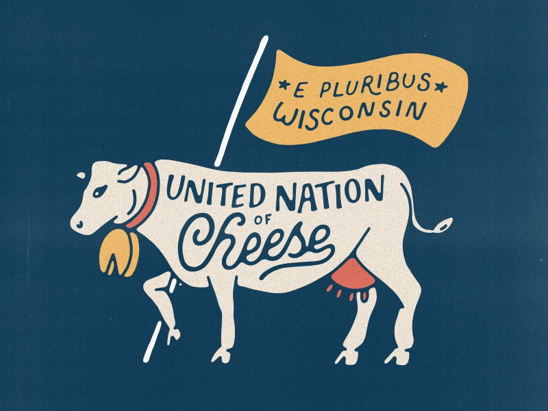 Cheese Cow wisconsin lettering flag illustration cheese cow