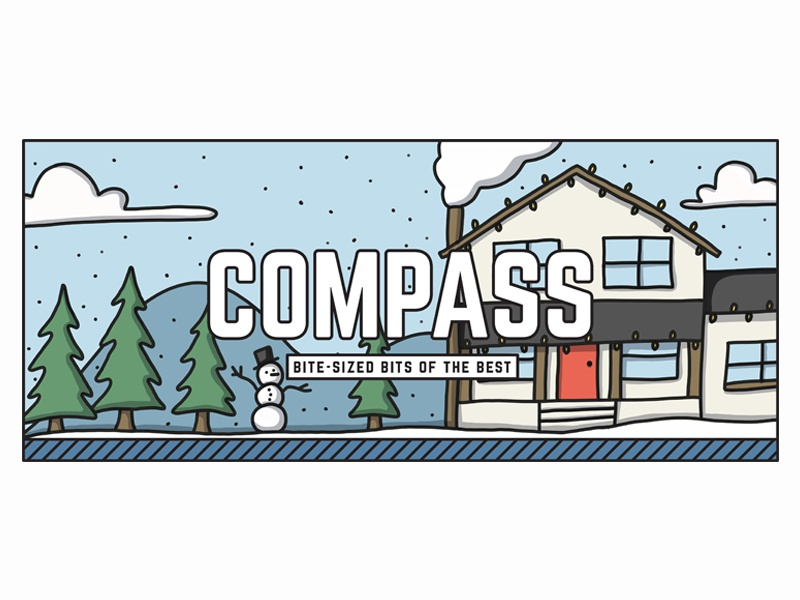 Compass - Winter Header header house tree snowman snow winter drawing design illustration