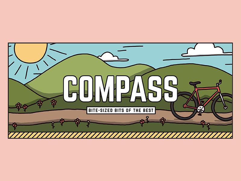 Compass Header - Spring hills sun nature bike design illustration