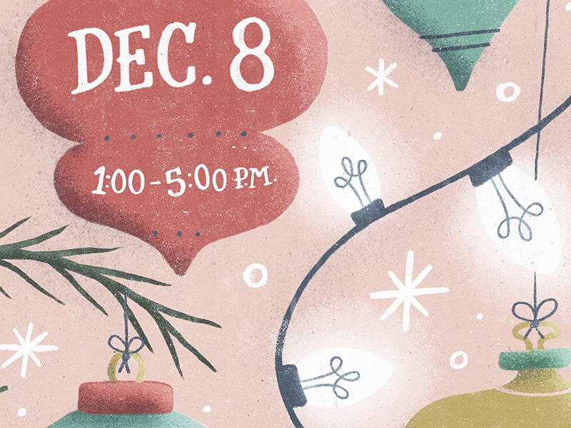 Christmas Market Poster WIP noise texture lettering illustration snow lights tree ornament holiday poster market farmers christmas