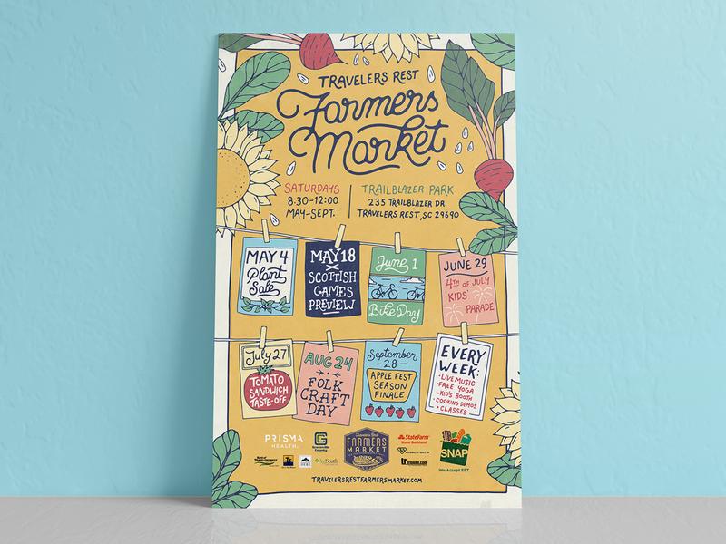 Travelers Rest Farmers Market 2019 Poster script lettering plant leaf summer flower illustration vegetable veggie poster market farmers