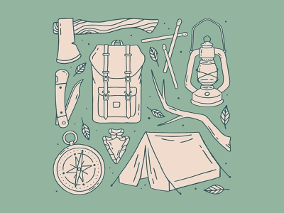Camping matches plant leaf arrowhead compass knife backpack tent campfire lantern axe hatchet illustration nature illustration nature outdoors camping camp