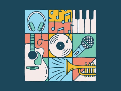 Music Grid texture handmade mural illustration grid color notes microphone vinyl record piano trumpet headphones guitar song instrument music