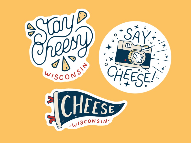 Cheesy Stickers handmade illustration camera wisconsin tattoo food flag pennant stickers sticker cheesy cheese