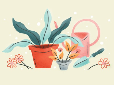 Leading With Empathy illustration header hero blog leaves leaf garden trowel watering can flower houseplant pot plant