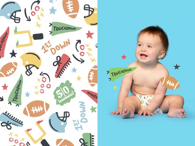 Football Pattern handmade product baby diaper hello bello illustration sports pattern football
