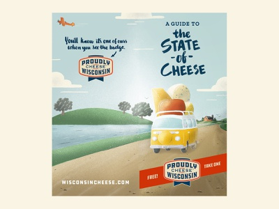Wisconsin Cheese Map Cover tree barn road country vw van field farm brochure illustration cover map cheese wisconsin
