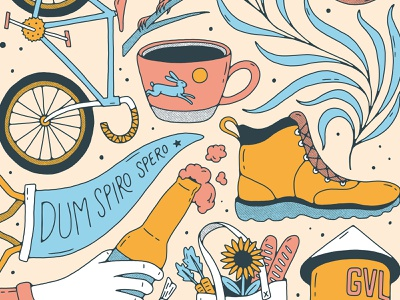 Greenville, SC Print - Detail shoe pennant coffee handlettering lettering handmade typography beer bike bird plant palm palmetto illustration poster print sc gvl south carolina greenville