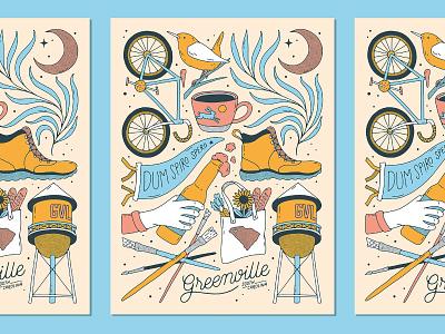 Greenville, SC Print bike handlettering typography handmade bird palm palmetto beer coffee lettering illustration poster print screenprint sc gvl south carolina greenville