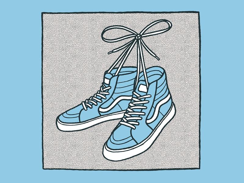Shoes - 12.9.19 blue illustration tied laces lace shoelace vans shoes shoe