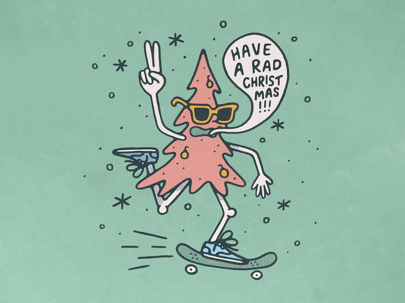 Have a Rad Christmas! handmade cool fun texture illustration skateboard skate tree christmas tree card holiday card holiday christmas