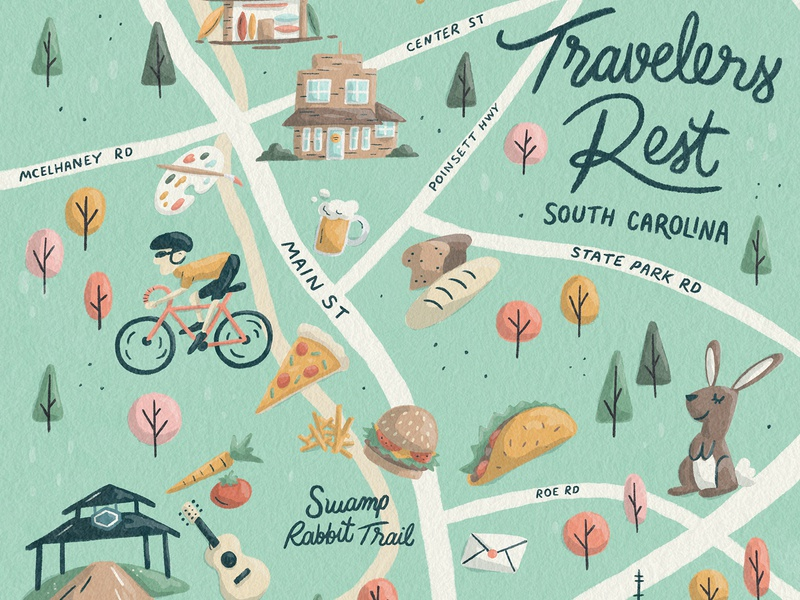 Travelers Rest Map Preview texture script nature tree taco food bike travelers rest greenville south carolina park illustration map