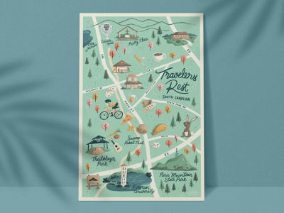 Travelers Rest Map texture handmade typography lettering tree nature mountains pizza food bike cute fun travelers rest greenville south carolina illustration map