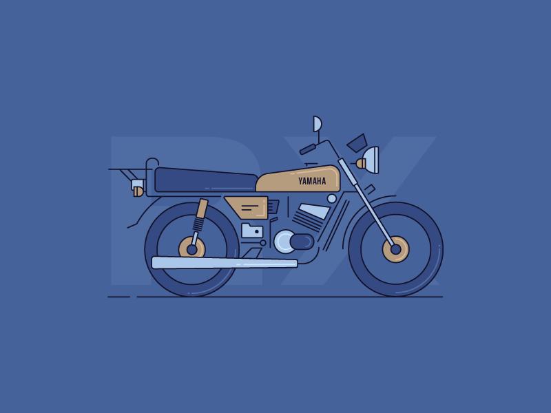 Rx 100 yamaha motorcycle india vector iluustration bike