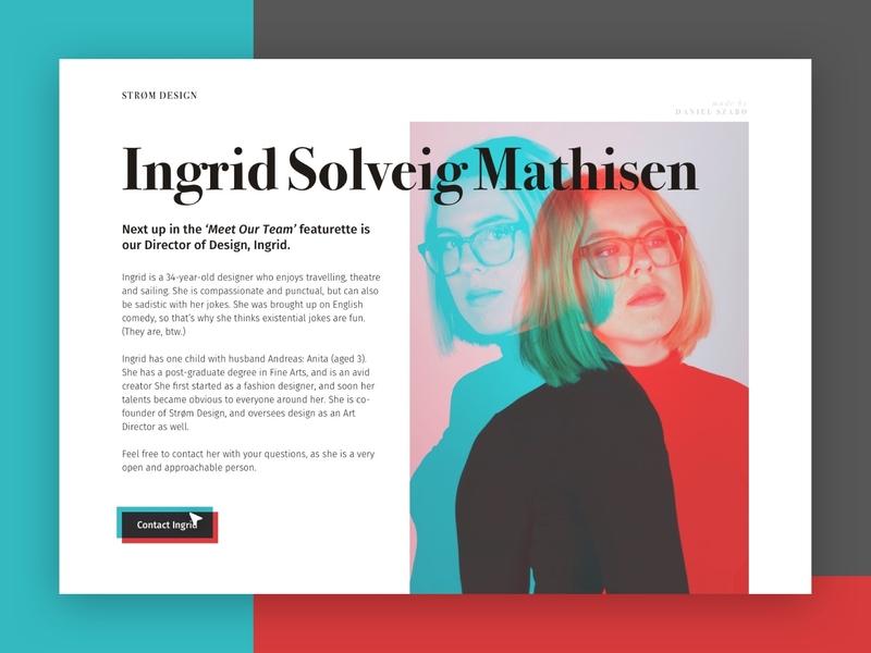 Strøm Design – Profile page for a designer ux design webdesign website ui contact page bio page bio sketch web design serif font minimal profile page profile card profile