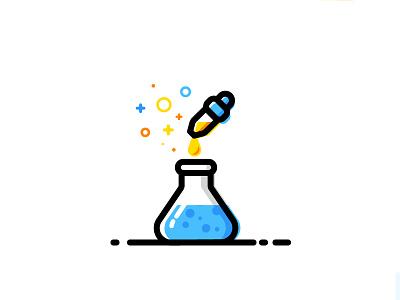 Lab experience flask beaker potion magic vector identity illustration lab