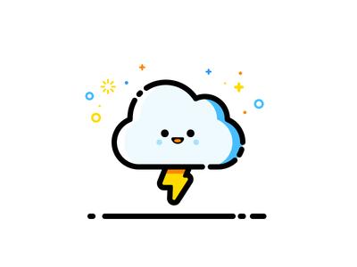 Thunder happy vector identity illustration thunder cloud