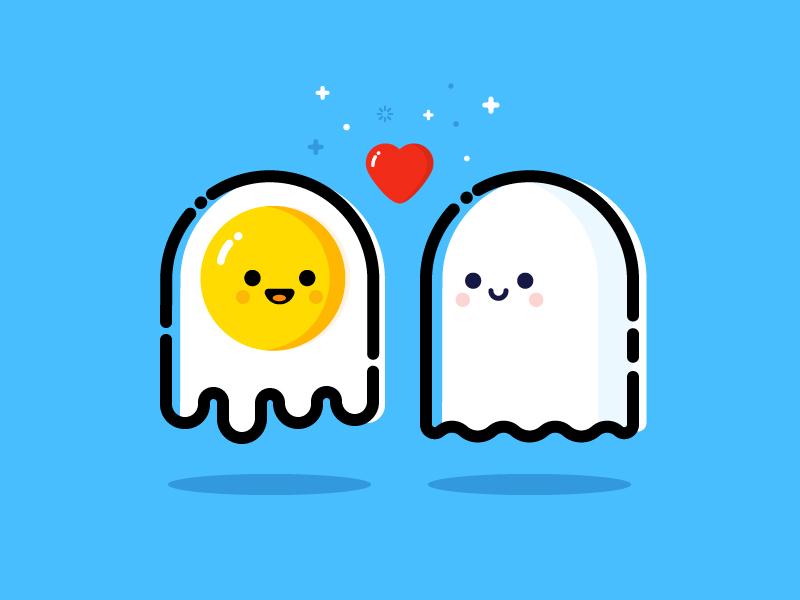 Ghost in love vector identity illustration love ghost egg