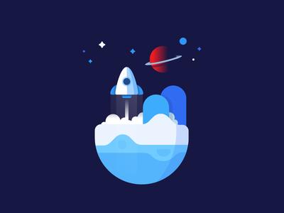 Rocket cute spaceship explore gradient sun city moon icon launch cosmos planet space