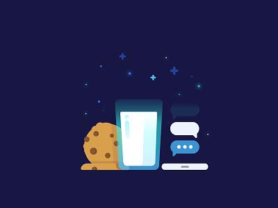 Milknight vector identity illustration messenger cookie milk