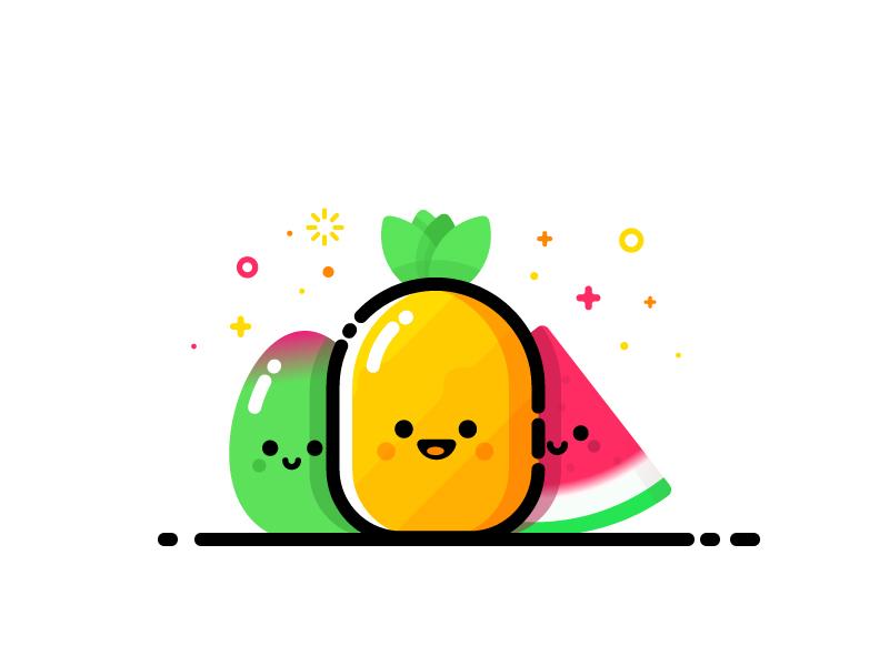 Fruity smiling face pineapple mango watermelon smile mbe friend happy cute summer fruit