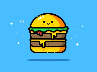 Cheesy smiling face happy cute character mbe style hamburger vector identity illustration cheese double burger