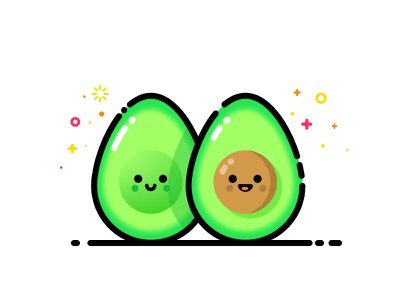Avocado smiling face twin smile friend happy mbe character vector identity illustration twins avocado