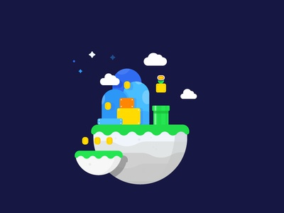 Mario World game night world space nintendo illustration vector identity land mario