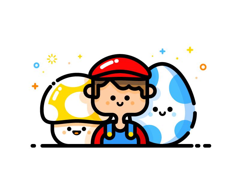 Mario mbe style mbe character avatar nintendo egg vector identity illustration yoshy mario much