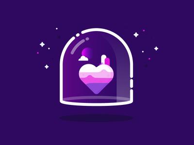 Heart purple moon love illustration vector identity land space heart planet