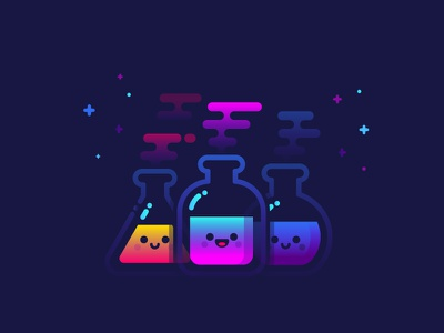 Lab science physics biology experience flask beaker illustration identity gradient magic lab potion