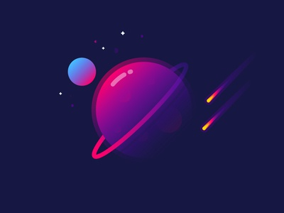 Planet mbe sun fantastic space meteor gradient illustration identity vector planet