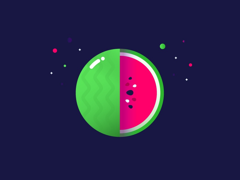 🍉 mbe brand identity logo fruit illustration explosion planet watermelon