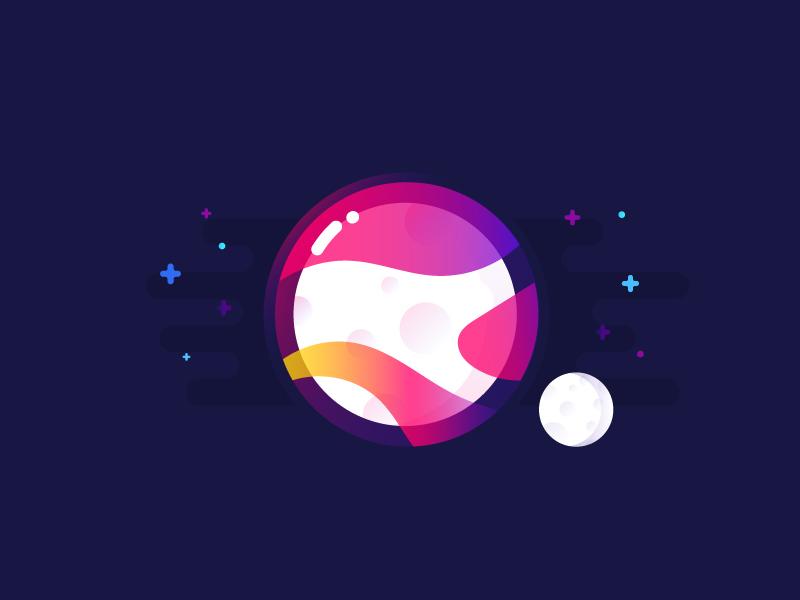 Moon illustration identity planet
