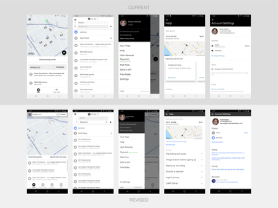 Uber App Revisions (selected) exercise app case study revision mobile app design mobile app mobile omnigraffle illustration ux ui typography design
