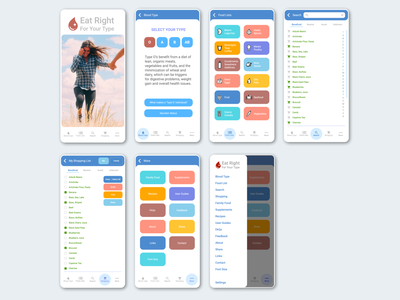 Mobile App Redesign: Eat Right For Your Type search menu navigation lifestyle health redesign mobile vector icon app logo branding omnigraffle ux ui typography design