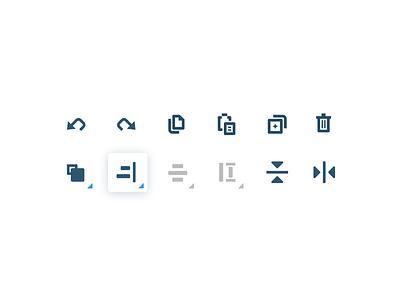 Toolbar align actions toolbar shadow copy duplicate trash delete undo redo icons tools