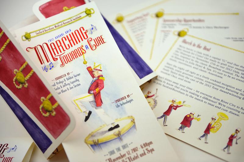 Saford Burnahm Gala 2012 emboss foil stamp diecut event invite watercolor illustraion