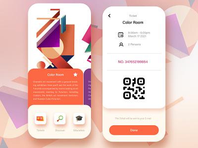 Art Gallery Tickets procreate ui app design illustration iphone app