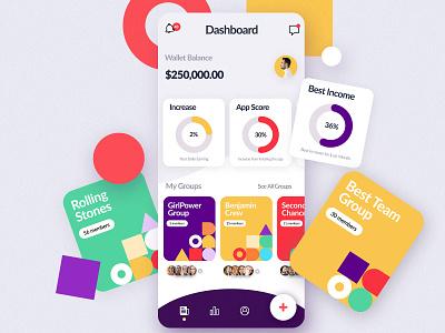 Group Wallet App graphs iphone uiux ui application colors wallet app design app