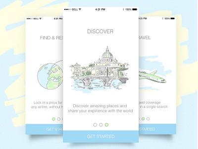 Intro screens travel plane venice illustration discover app ios iphone intro