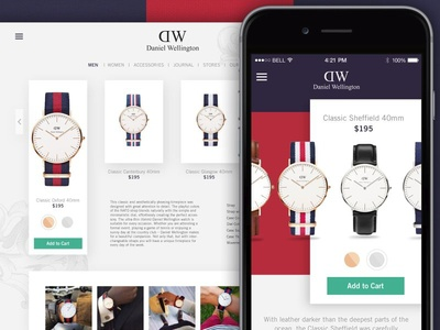 Watch Page iphone shopping ecommerce danielwellington website ios watch wd