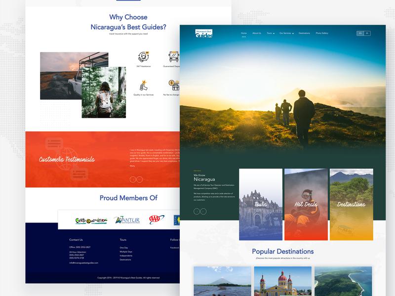 Tour Operator Web Redesign ux ui website travel prototype nicaragua mockup web design adobexd