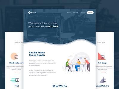 Marketing Agency Landing Page logo minimal flat branding website web ux ui prototype nicaragua mockup design adobexd