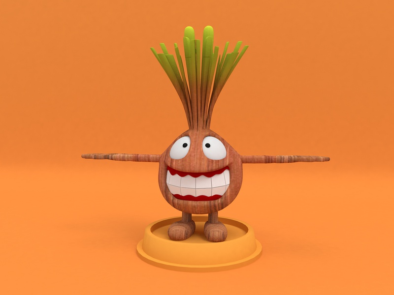 Garlic man with wood grain cartoon characters design c4d