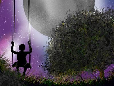 Loneliness - illustration animation loneliness night illustration digital illustration digitalart design branding photoshop background vector illustration illustrator